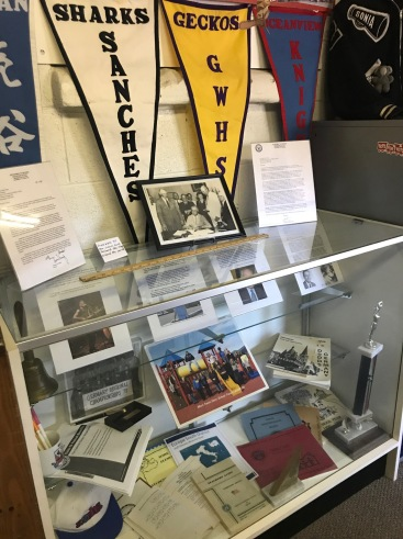 """Some of the many displays in the """"Schooling With Uncle Sam"""" exhibit"""