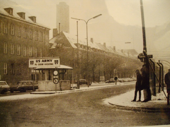 This is an old photograph of the main gate from the 1960s
